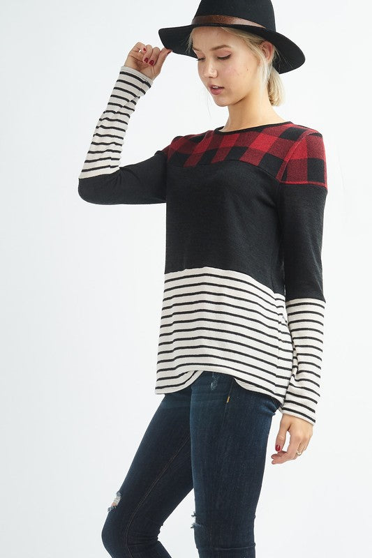 Buffalo Plaid Colorblock Top