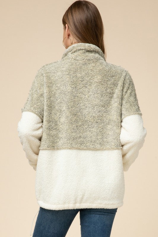 Oatmeal Fuzzy Half Zip Top