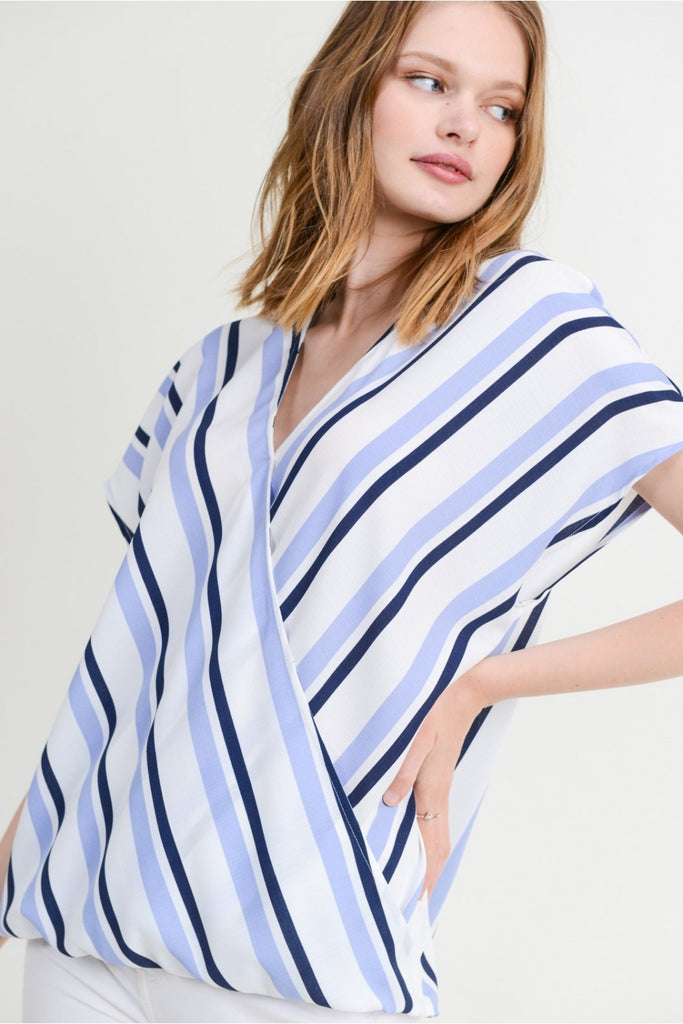 Denim Stripe Wrap Blouse