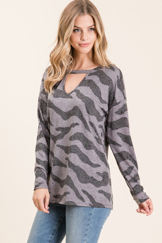 Grey Tiger Key Hole Top