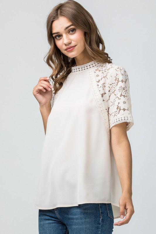 Ivory Lace Sleeve Blouse