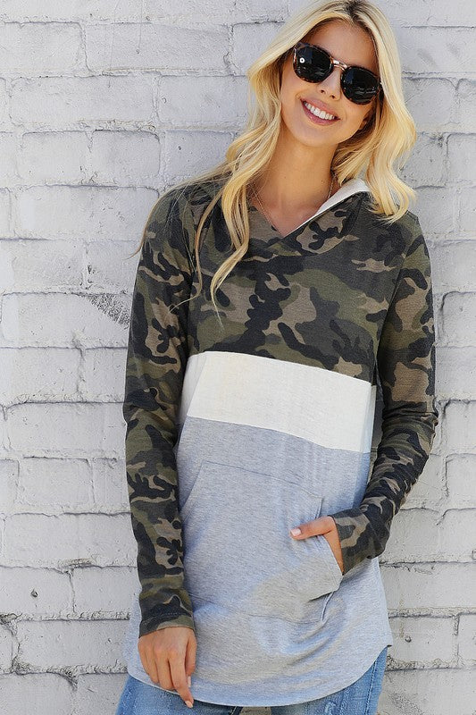 Camo Colorblock Half Zip Top