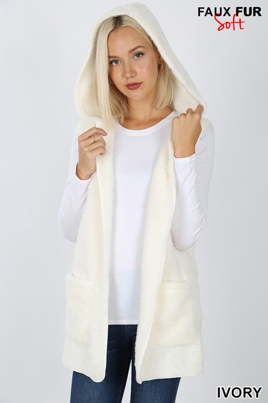 Furry Vest, with Hood & Pockets, Several Colors