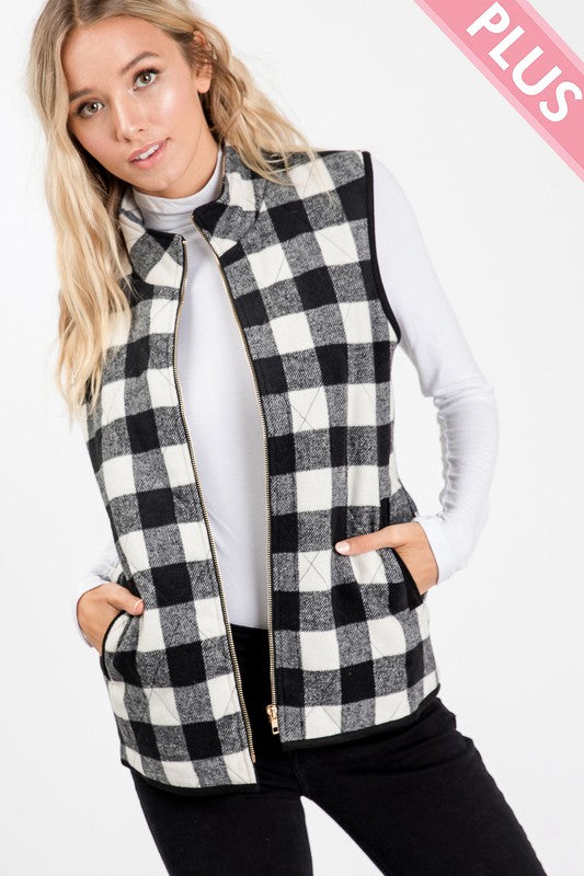 Buffalo Plaid Puff Vest, 2 Colors