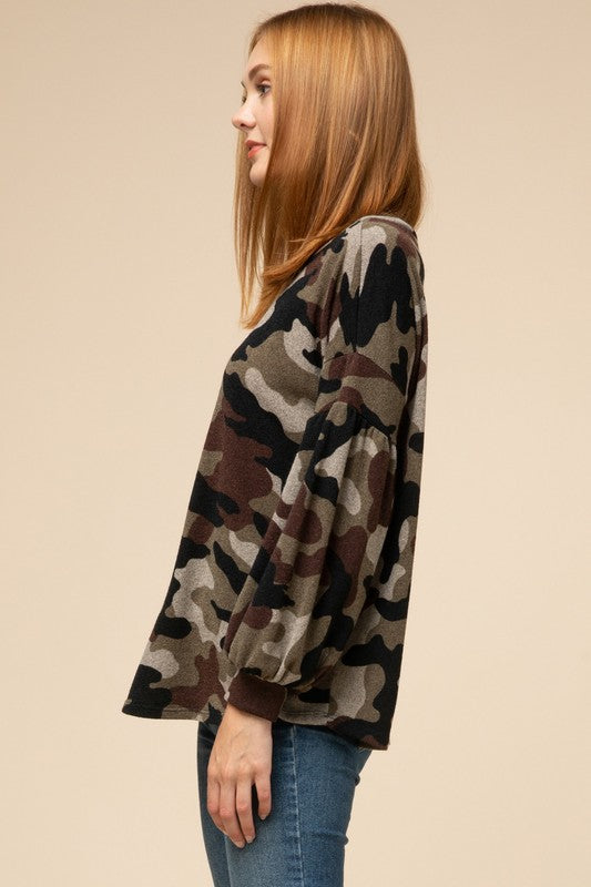 Camo Bubble Sleeve Top