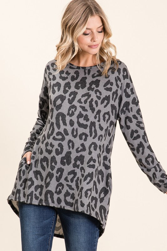 Grey Leopard Tunic, with pockets!