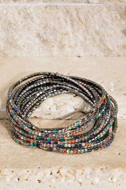 Hematite Multi Colored Bracelet Stack