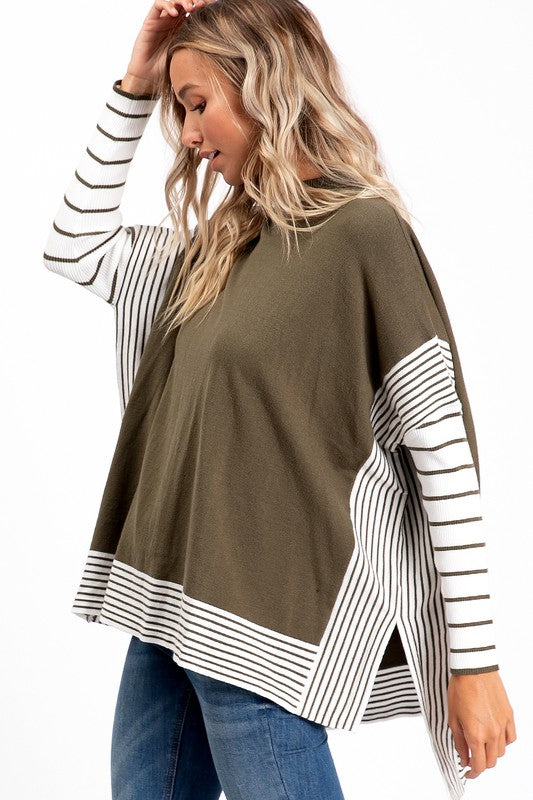 Striped Trim Poncho