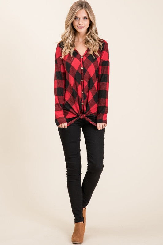 Buffalo Plaid Button Front Top