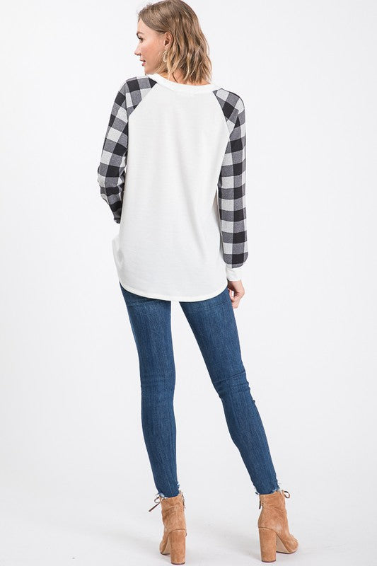 Ivory Buffalo Plaid Raglan Sleeve Top