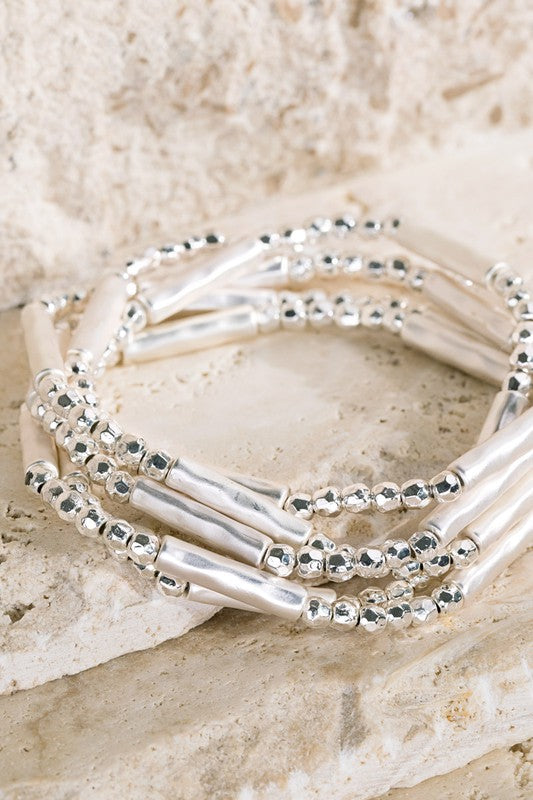 Metal Beaded Bracelet Stack