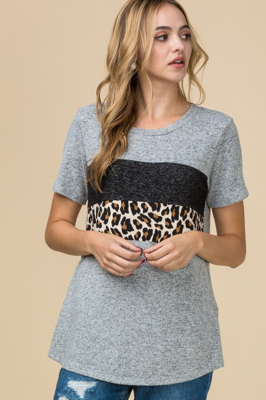 Short Sleeve Blocked Cheetah Top