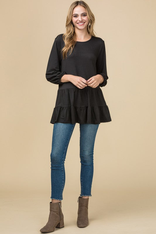Double Ruffle 3/4 Sleeve Top
