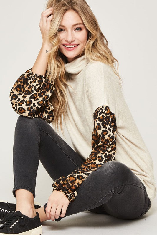 Leopard Sleeve Cowl Neck Top