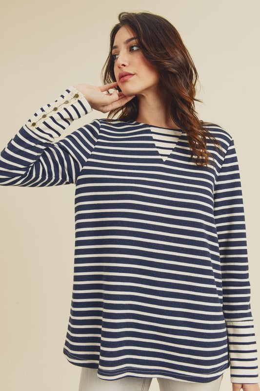 Lace Sleeve Striped Top