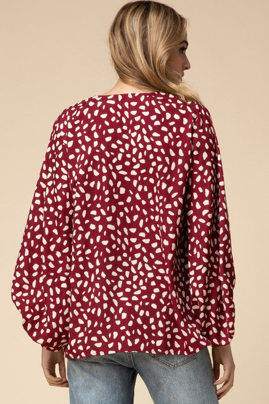 Wine Dot Blouse