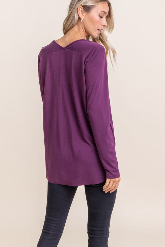 Violet Long Sleeve V-neck Top
