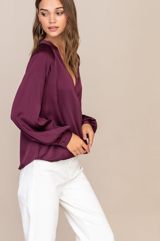 Wine Wrap Blouse