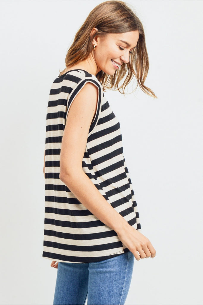 Black Striped Henley Top