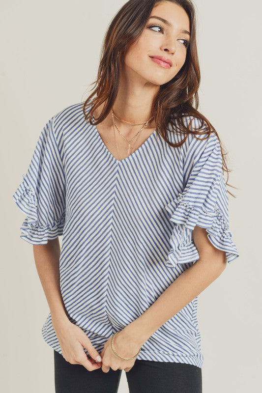 French Blue Ruffle Top