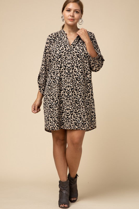Leopard 3/4 Sleeve Dress