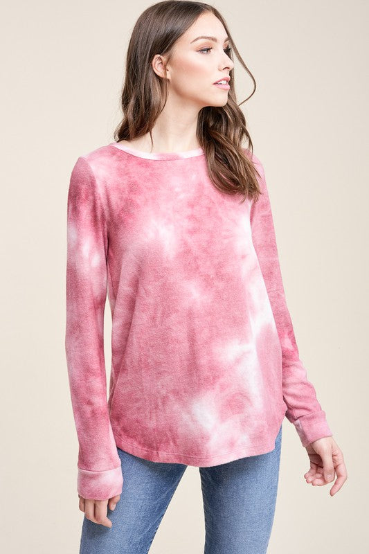 Brushed Blush Tie Dye Top