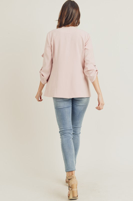 Blush Drape Front Jacket