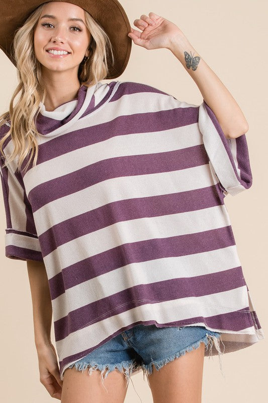 Purple Striped Dolman Top