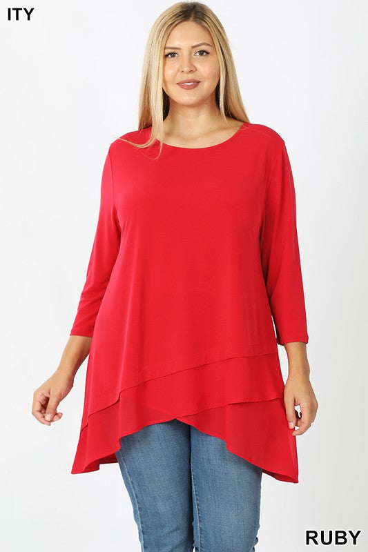 Chiffon Trim Tunic, 3 Colors