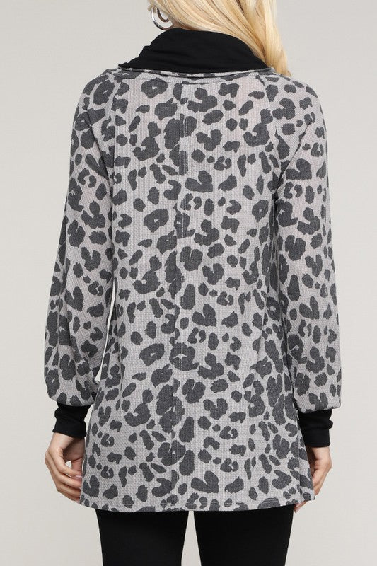 Oversized Leopard Cowl Neck Top