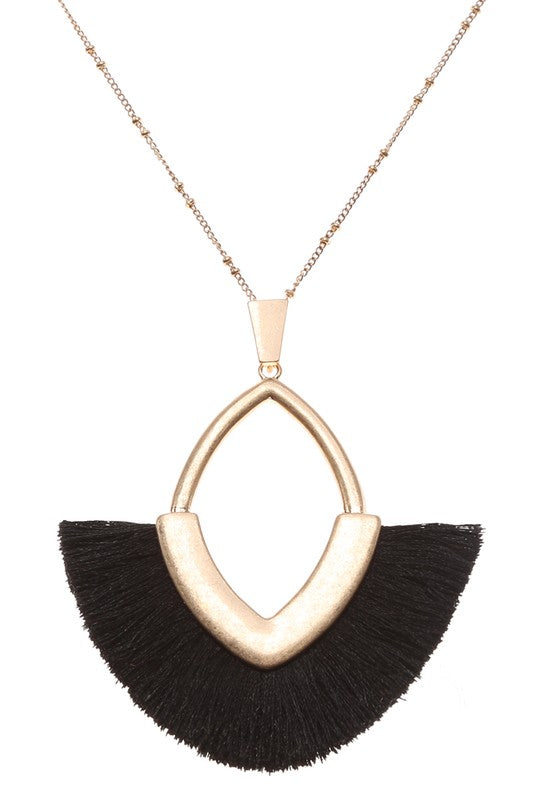 V-Tassel Long Necklace, 4 Colors