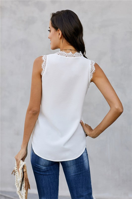 Eyelash Lace Trim Tank