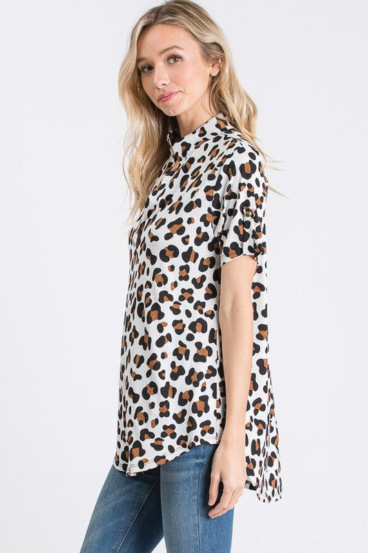 Leopard Split V Top