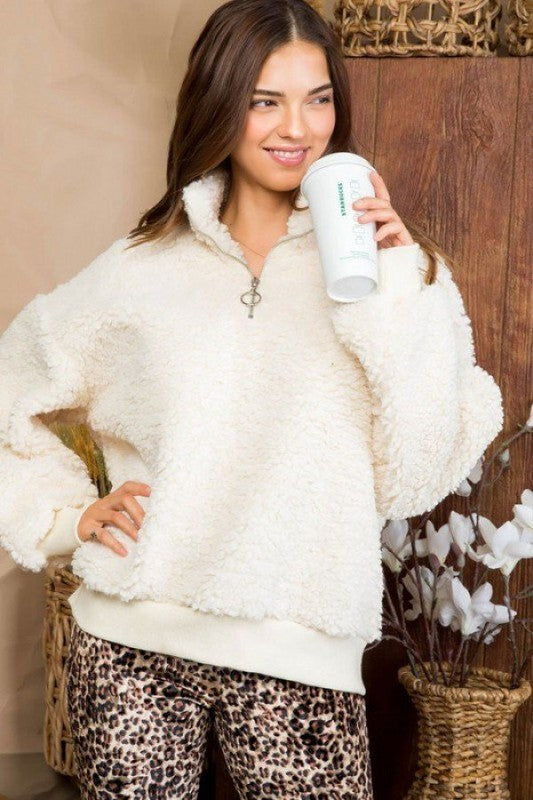 Ivory Zip Up Fuzzy Top
