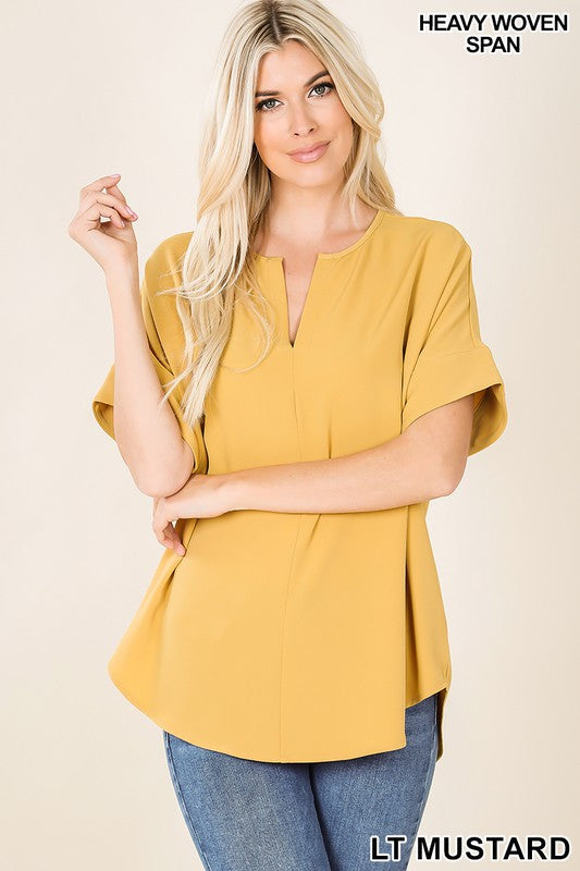 Woven V-Neck Top, 2 Colors