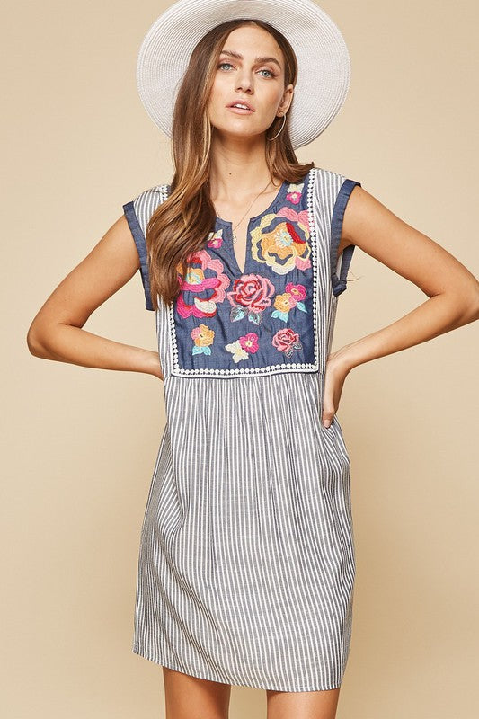 Striped Embroidery Dress
