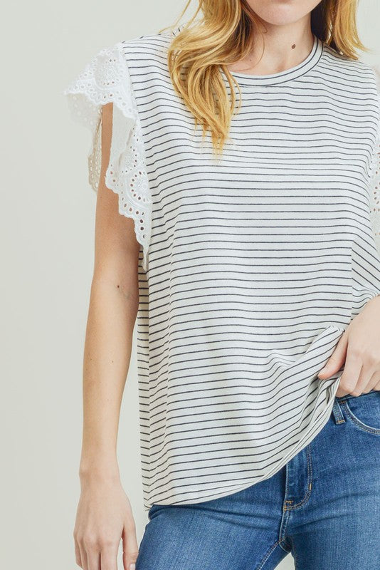Striped Eyelet Flutter Sleeve Top