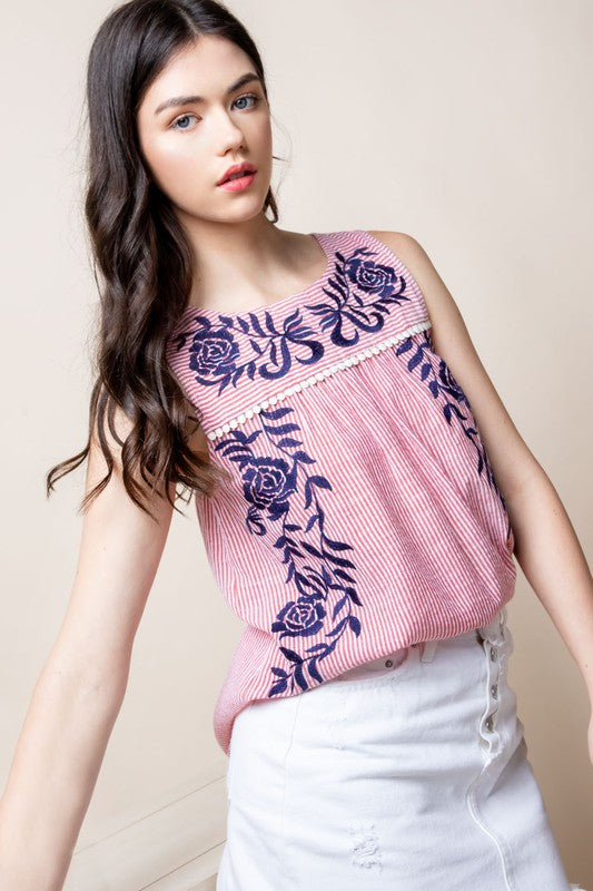 Embroidered Floral Tank Top