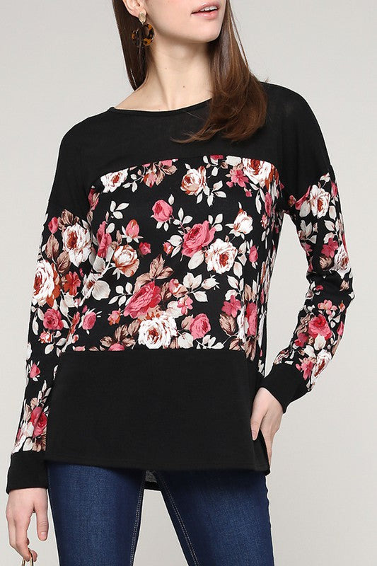 Floral Colorblock Top