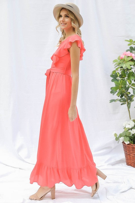 Coral Ruffle Maxi Dress