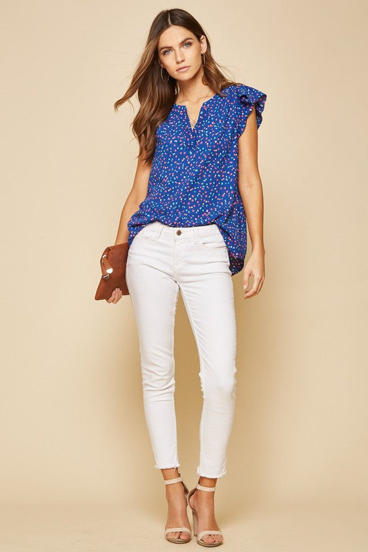 Royal Blue Polka Dot Top