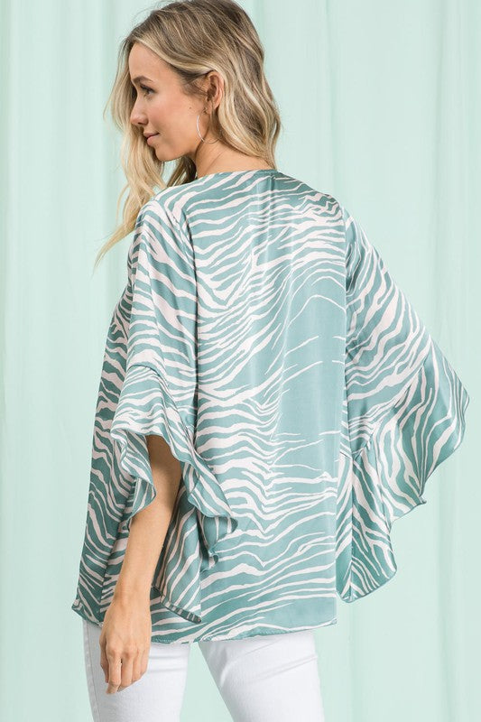 Geo Print Ruffle Sleeve Top
