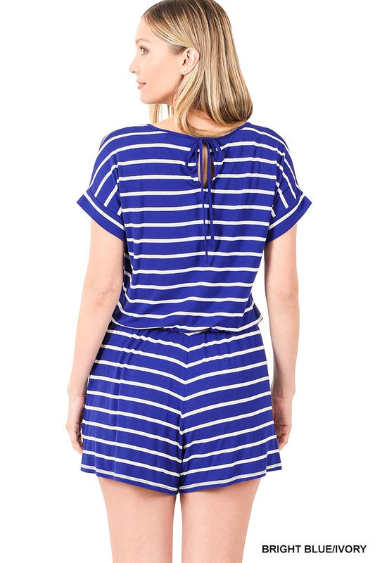 Striped Shorts Romper, 2 Colors
