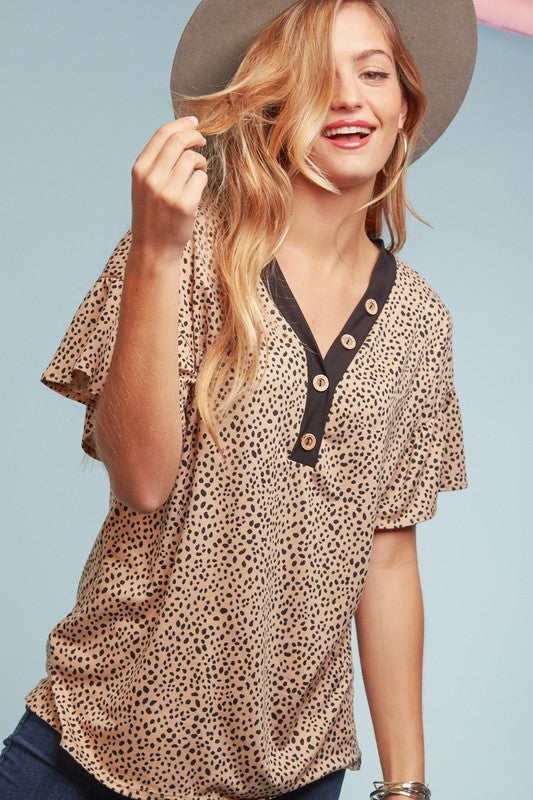 Button Collar Dalmatian Print Top