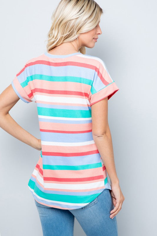 Aqua Coral Striped V-Neck Top