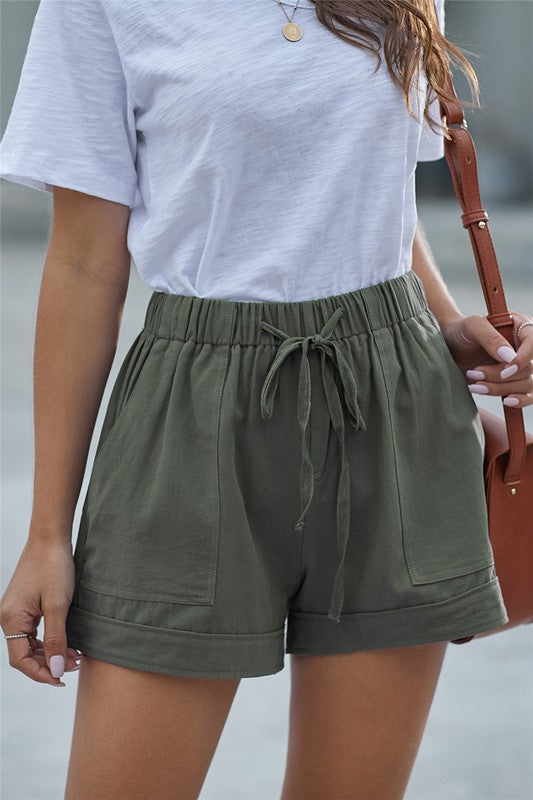 Pocketed Drawstring Shorts