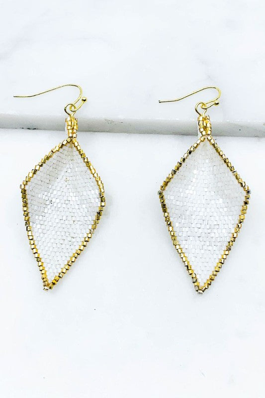 Diamond Seed Bead Earrings