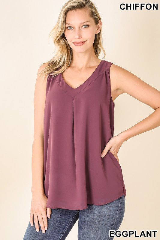 Chiffon Layered Tank, 4 Colors