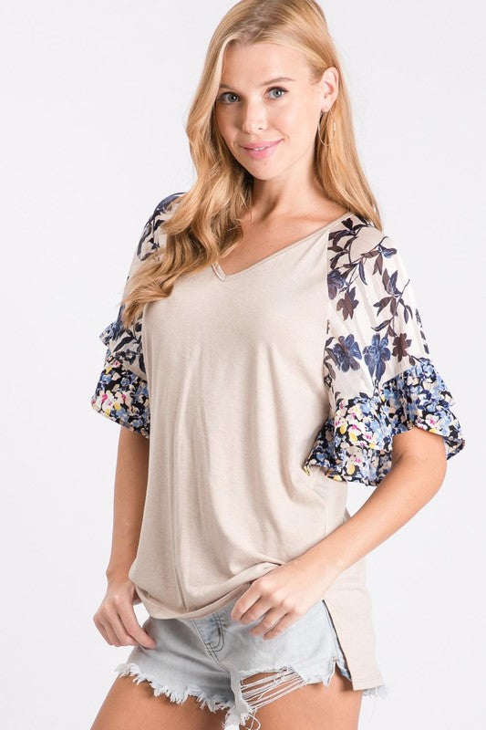 Tahiti Floral Sleeve Top