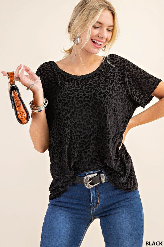 Leopard Burn Out Top